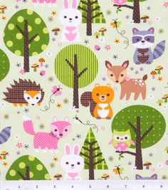 Curtains?  Woodland Friends In Trees Fabric By The Yard FBTY. $10.00, via Etsy.