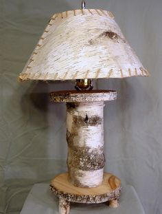 Rustic Natural Birch Wooden Log Lamps and Birch Bark Lamp Shades