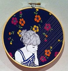 Illustration - Gretel Girl Embroidery Hoop