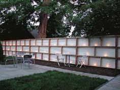 corrugated wood fence | Corrugated metal and wood fence with lights - would be so cool in the ...