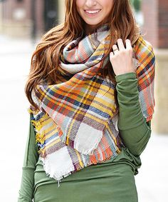 Look at this So Perla Orange & Blue Plaid Blanket Scarf on #zulily today!