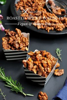 These spiced roasted walnuts make the perfect salad topper or healthy snack. Easy, versatile, and done in 20 minutes. They are gluten-free and vegan. Spiced Walnuts Recipe, Roasted Walnuts, Spicy Walnuts, Spiced Nuts, Healthy Snacks, Healthy Recipes, Delicious Recipes, Vegetarian Recipes, Appetizers