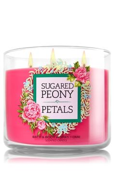 Sugared Peony Petals Candle - Home Fragrance 1037181 - Bath & Body Works Bath Candles, 3 Wick Candles, Scented Candles, Candle Jars, Bath Body Works, Candle Accessories, Body Cleanser, Bath And Bodyworks, Beautiful Candles