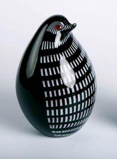 Mundblæst glas pingvin, sort og hvid, Højde: 17cm, Glas Kunst, Produceret for DPH Denmark