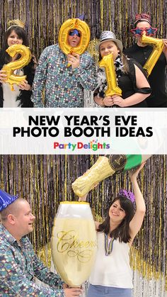 Create the ultimate NYE photo booth with our New Year's Eve photo booth ideas. Complete with New Year photo booth decorations, props and a DIY glitter backdrop! The perfect way to bring in 2017!
