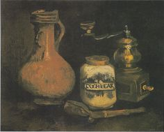 Still life with beer, coffee grinder and whistling case