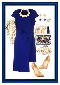 """""""Golden Sapphire"""" by babygirltrice ❤ liked on Polyvore featuring Christian Louboutin, Dolce&Gabbana, Versace, Lele Sadoughi, Mounser, Gucci, Tom Ford, Bobbi Brown Cosmetics and Cartier"""