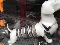 awesome Dachshund Dog Display in the window... near Malá Strana, Hlavni Mesto Praha. Find the perfect collar for your four-legged pal.