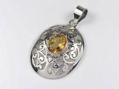 Stylish sterling silver citrine pendant