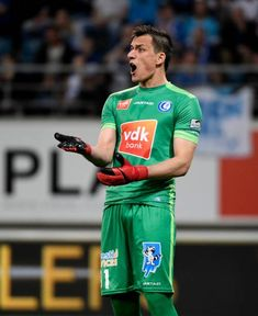 Lovre Kalinic goalkeeper of KAA Gent during the Jupiler Pro League PlayOff 1 match between KAA Gent and KRC Genk at the Ghelamco Arena on April 17...