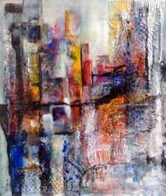 S'morgens in een stad, schilderij van Ilona de Graaf | Abstract | Modern | Kunst
