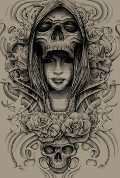 Skull queen tattoo sleeve