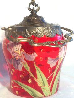 RARE Superbe Seau à biscuits 1880 verre rouge émaillé Legras: Les Iris