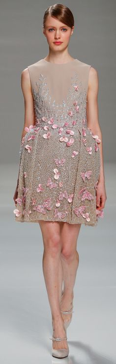 Georges Hobeika ~ HC Taupe Midi Dress with Pink Butterflies, Spring 2015