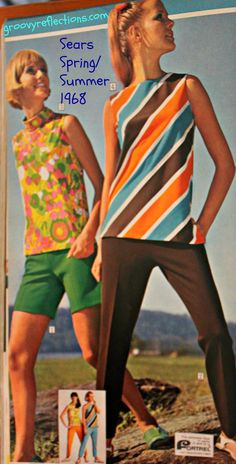 Flowers, stripes and GRoovy colors! Get your mod on with these fashions from Sears Spring / Summer 1968 catalog! #sears #fashion #style