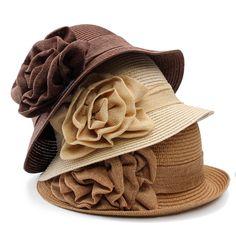 a3ce83016bf Women Ladies Summer Straw Hat Beauty Ruffle Flower Side Flip Bucket Cloche  Beach Cap Sun Hats