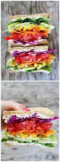 Rainbow Vegetable Sandwich Recipe on twopeasandtheirpo... The best veggie…