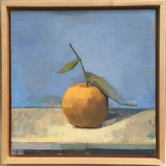 orange on blue oil on linen mounted on panel | 12 x 12 • #oil #painting #orange #citrus #art