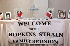 Hopkins-Strain Family Reunion banner The Reunion, Diy Signs, Centerpieces, Banner, Holiday Decor, Asparagus, Board, Christmas, Ideas