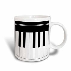 3dRose Piano keys - black and white keyboard musical design - pianist music player and musician gifts, Ceramic Mug, 15-ounce