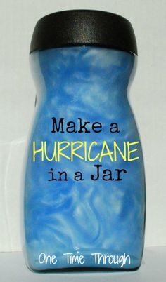 Making a hurricane in a jar can help the students visualize what a hurricane looks like. This is a great science experiment to do with the class. After the experiment, you can have them complete a worksheet documenting what they saw and experienced. Preschool Science, Science Fair, Teaching Science, Science For Kids, Science Experiments, Science Education, Weather Experiments, History Education, Teaching History