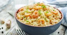 Recette de Risotto de quinoa aux crevettes. Facile et rapide à réaliser, goûteuse et diététique. Ingrédients, préparation et recettes associées.
