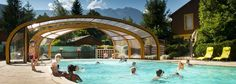 The covered pool at A la Rencontre du Soleil, Les Abrets, France French Alps, Campsite, Covered Pool, Tent, France, Explore, Mansions, Country, House Styles