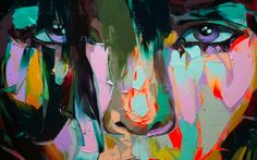 I like this painter very much. Francoise Nielly paints with thick oleos, sometimes they are fluorescent ones, with palette knives, quickly, fluently. I like the colors, the mixing, that people looking at you...