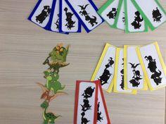 Stapeldinosaurussen in schaduwbeelden. In 4 verschillende niveaus volgens aantal dino's. *liestr*
