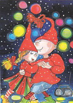 Virpi Pekkala Christmas Clipart, Christmas Cards, Xmas, Baumgarten, Illustrations, Romantic Couples, Whimsical Art, Gnomes, Finland