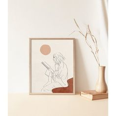 Toko Online kemmayu | Shopee Indonesia Line Illustration, Girl Reading, Line Drawing, Line Art, Wall Art Prints, Gallery Wall, Place Card Holders, Boho, Drawings