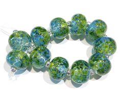 10 Lapis Blue Slim Discs SRA lampwork beads by Beadfairy Lampwork handmade glass beads in dark blue