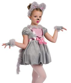 Fleece dress with marabou trim and organza lined bubble skirt over attached spandex leotard. Sequin dot lycra front inset, sequin trim and attached bow. Included : Ears on headband and gauntlets Dance Costumes Kids, Cute Costumes, Ballet Costumes, Baby Costumes, Mouse Costume, Kids Dress Up, Ballet Girls, Christmas Costumes, Dance Outfits