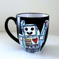 Robot Mug Black Ceramic Coffee Cup with handle Retro Geekery Red Hearts Hand Painted by sewZinski