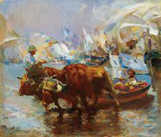 José Navarro Llorens 1867-1923 España. Estudió en la Escuela de Bellas Artes de San Carlos de Valencia; su obra presenta una obvia influencia de Joaquín Sorolla. Su temática más frecuente fueron las marinas, en las que se especializó