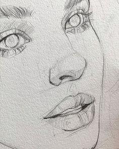 Pencil Sketch Drawing, Pencil Art Drawings, Cool Art Drawings, Art Drawings Sketches, Drawing Ideas, Drawing Base, Easy Drawings, Disney Drawings, Portrait Sketches