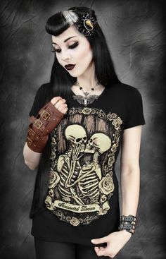 "T-shirt Gothique Steampunk ""Immortal Lovers"""