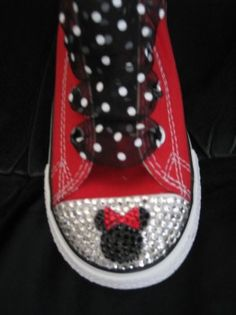 Need to figure out a cheap way to do this (as opposed to ordering these shoes). Don't need the crystals on them. Just want to find some really cute and comfy red shoes, black laces with white polka dots (laces or ribbons) and a Mickey Mouse attachment of some sort. Bedazzled Converse, Rhinestone Converse, Minnie Mouse Converse, Minnie Mouse Party, Mouse Parties, Mickey Mouse, Disney Diy, Disney Cruise, Disney Crafts