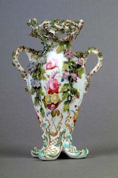 Coalport Porcelain, Coalbrookdale-style Vase c.1830-1840.