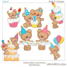 DIGITAL SCRAPBOOKING CLIPART - Marshmallow & Honey First Birthday