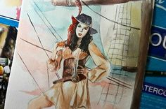 Pirate ⛵ TT twice mina~  #twice #mina #twicemina #twicefanart #kpop #kpopfanart #watercolor