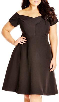 238e8cf3657 Shop Women s Plus Size Women s Plus Size Black Off Shoulder Fit   Flare  Dancer Dress