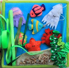 "Handmade by mom: Развивающая книжка для мальчика ""Мишка-Путешественник""...))) LOVE this underwater page. So many beautiful details in this book!!!"