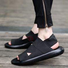 Spandex Peep Toe Slip-On Color Block Men's Sandals