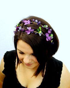 Purple Woodland Crown, Bridal Hair, Woodland Wedding, Forest Fairy Headband, Purple Hydrangea and Crystal Headband. $45.00, via Etsy.