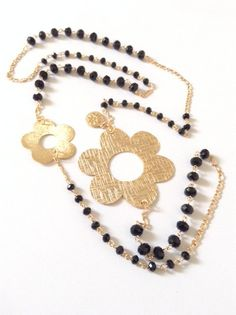 Long Black Necklace chain Black Necklace gold Flower by Sifrimania