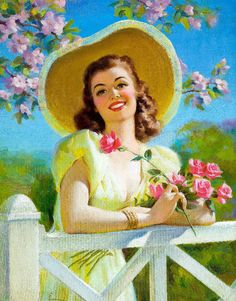 spring pin up girl by Art Frahm Pin Up Vintage, Vintage Ladies, Pinup Art, Calendar Girls, Vintage Pictures, Vintage Images, Gif Animé, Animated Gif, Vintage Prints