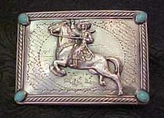 Susan Adams Waving Cowgirl Buckle with Turquoise