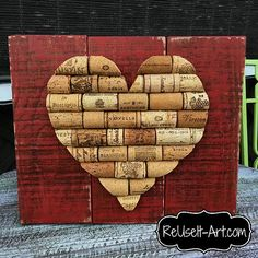 "Stained Wood Pallet Sign, Wine Cork Heart,  Rustic Pallet Art  approx 10"" x 12"""