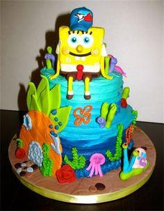 Buttercream & Fondant Sponge Bob Cake by Pink Flower Cakes